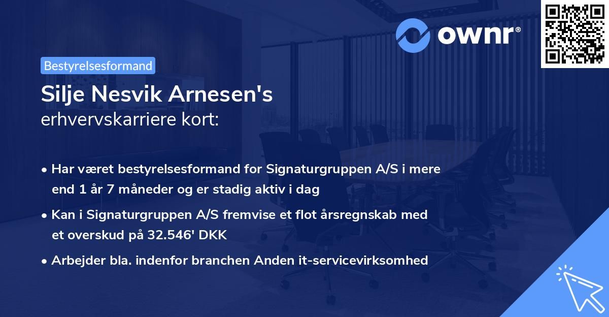 Silje Nesvik Arnesen's erhvervskarriere kort