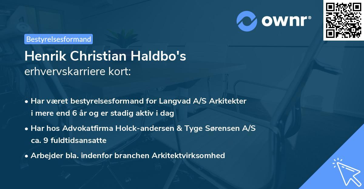 Henrik Christian Haldbo's erhvervskarriere kort