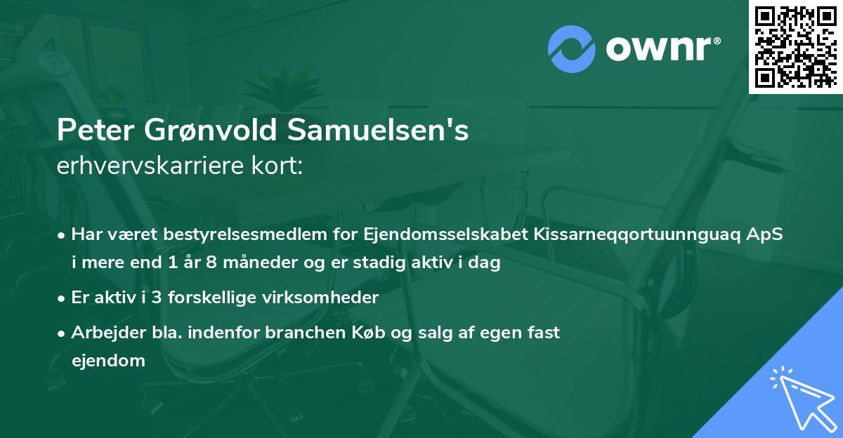 Peter Grønvold Samuelsen's erhvervskarriere kort