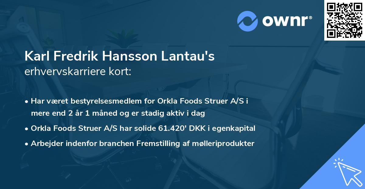 Karl Fredrik Hansson Lantau's erhvervskarriere kort