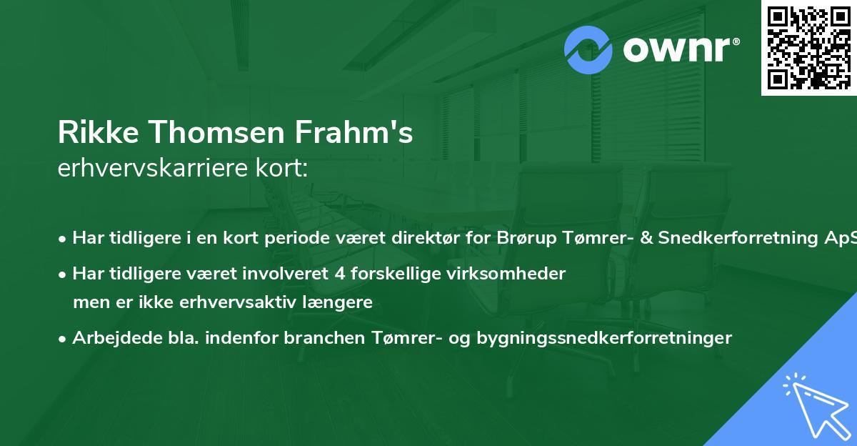 Rikke Thomsen Frahm's erhvervskarriere kort