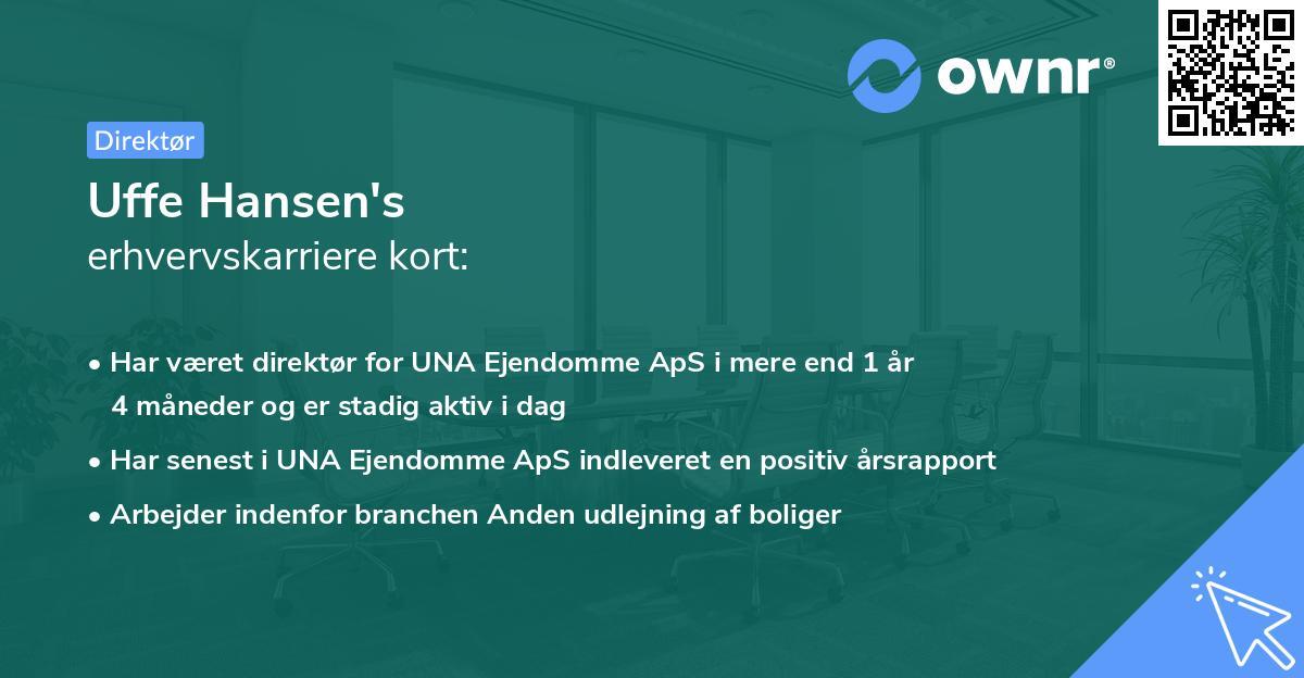 Uffe Hansen's erhvervskarriere kort