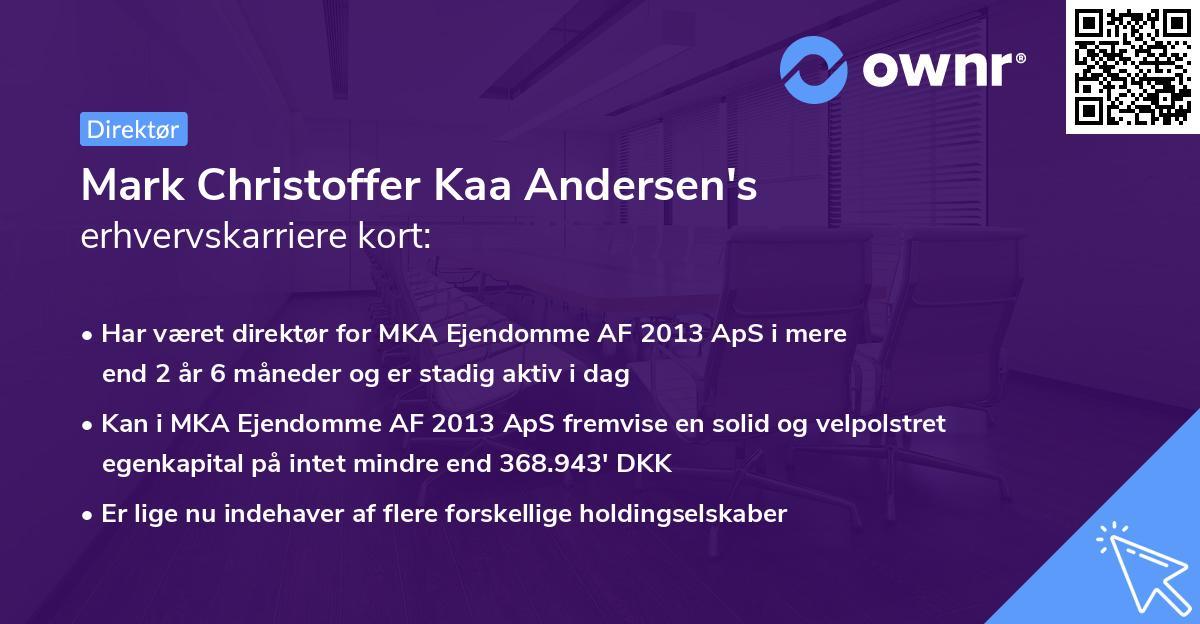 Mark Christoffer Kaa Andersen's erhvervskarriere kort