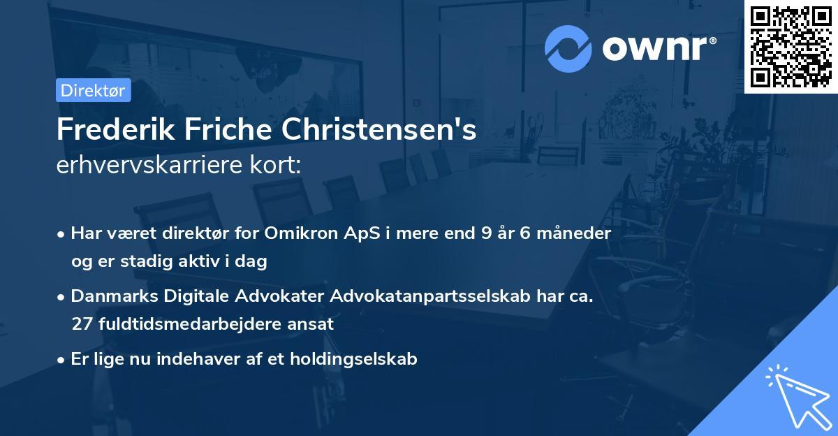 Frederik Friche Christensen's erhvervskarriere kort