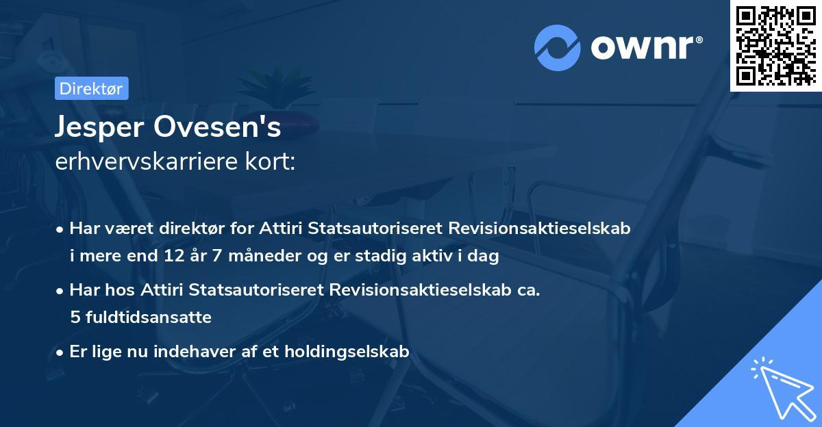 Jesper Ovesen's erhvervskarriere kort
