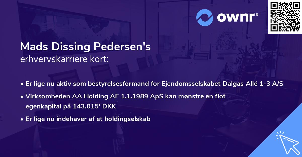 Mads Dissing Pedersen's erhvervskarriere kort