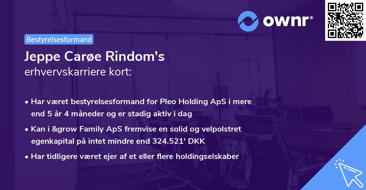 Jeppe Carøe Rindom's erhvervskarriere kort