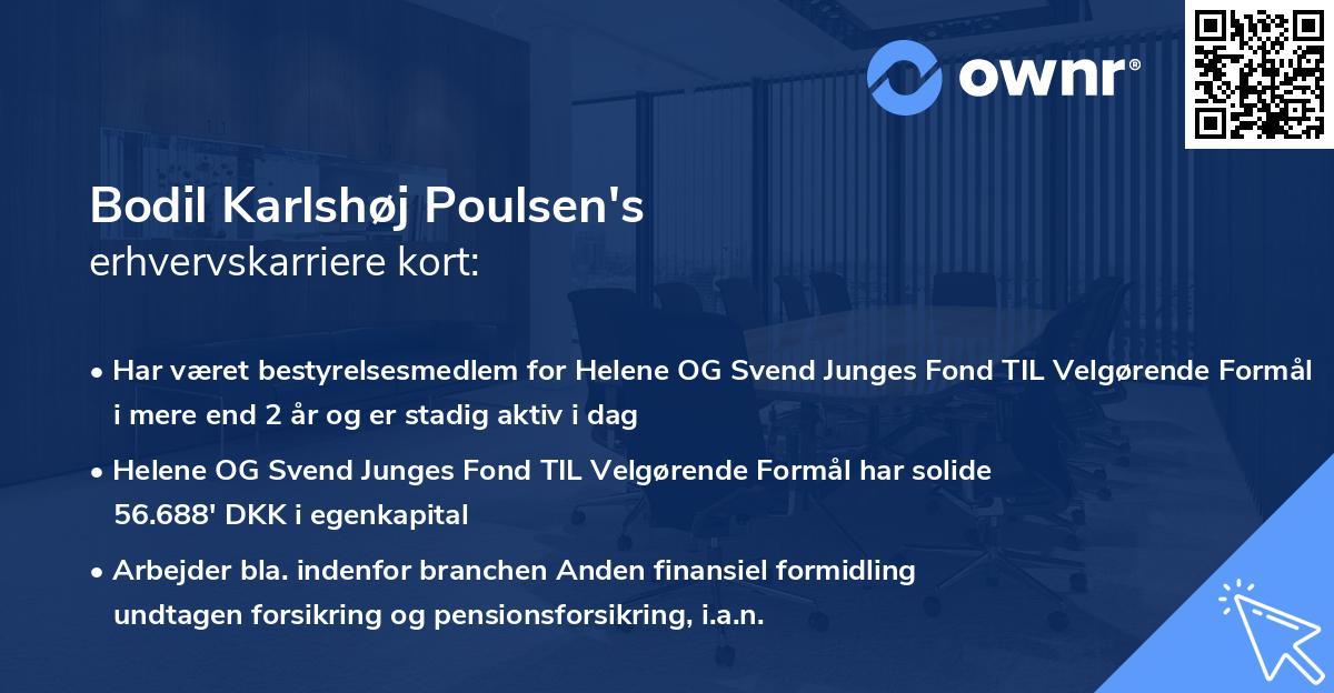 Bodil Karlshøj Poulsen's erhvervskarriere kort