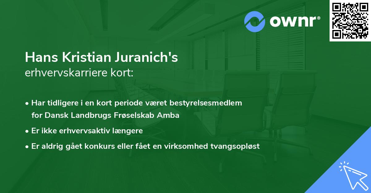 Hans Kristian Juranich's erhvervskarriere kort