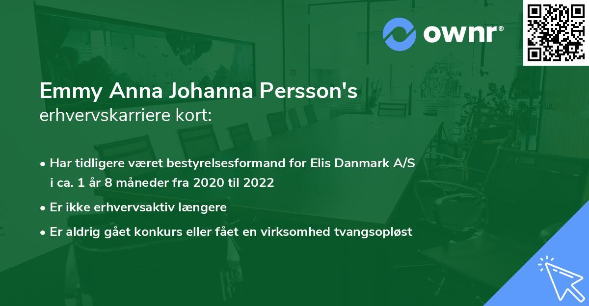 Emmy Anna Johanna Persson's erhvervskarriere kort
