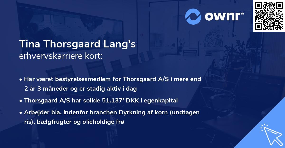 Tina Thorsgaard Lang's erhvervskarriere kort