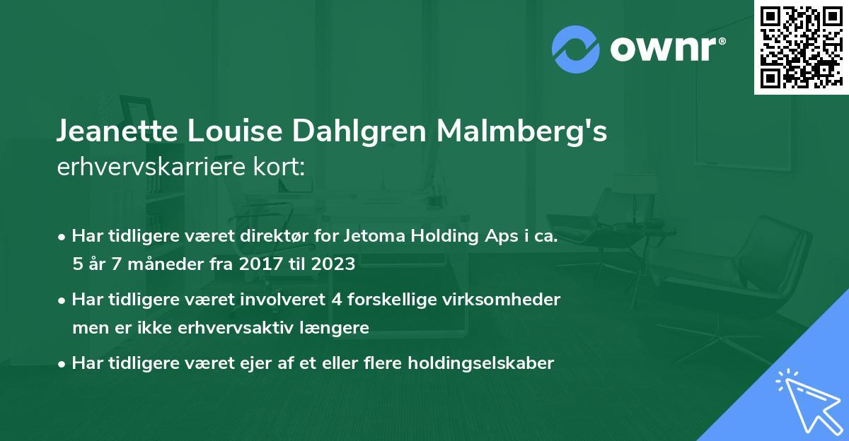 Jeanette Louise Dahlgren Malmberg's erhvervskarriere kort