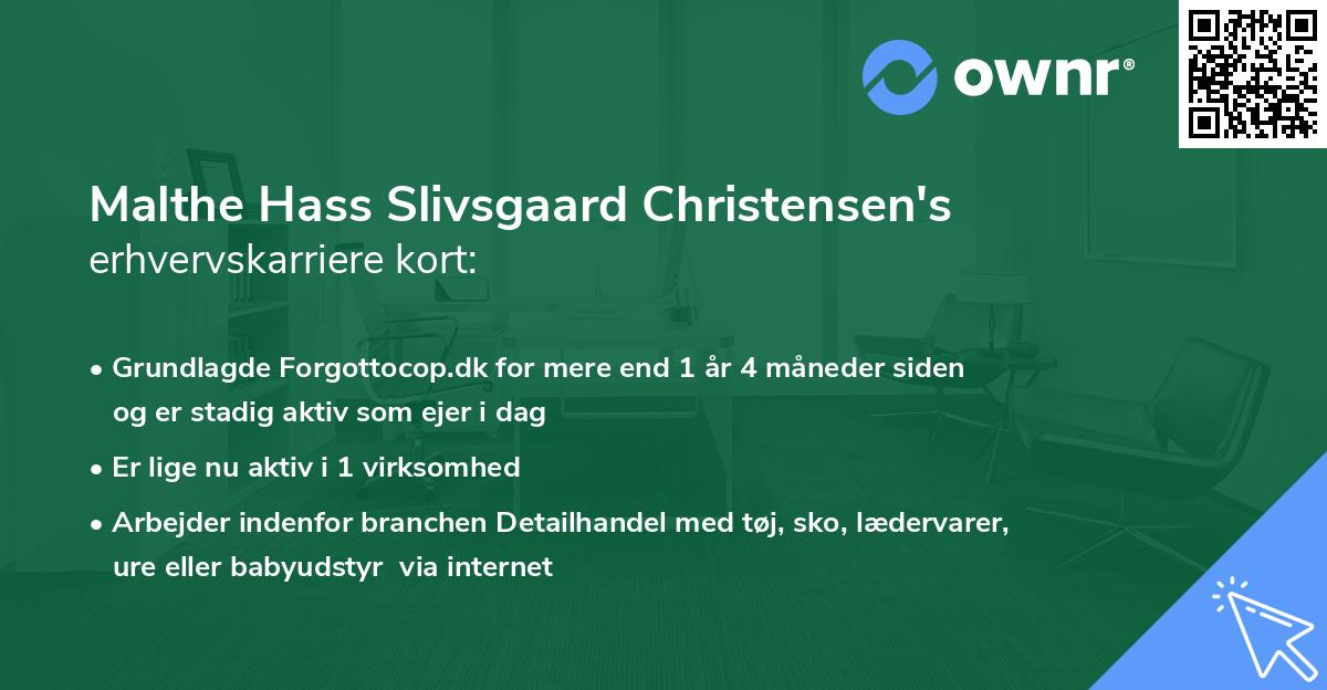 Malthe Hass Slivsgaard Christensen's erhvervskarriere kort
