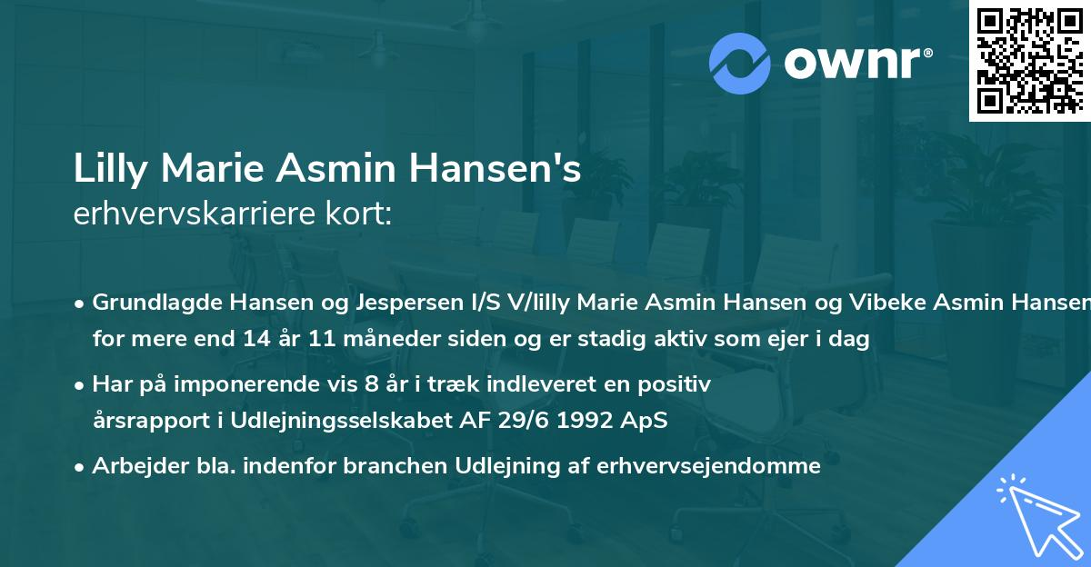 Lilly Marie Asmin Hansen's erhvervskarriere kort