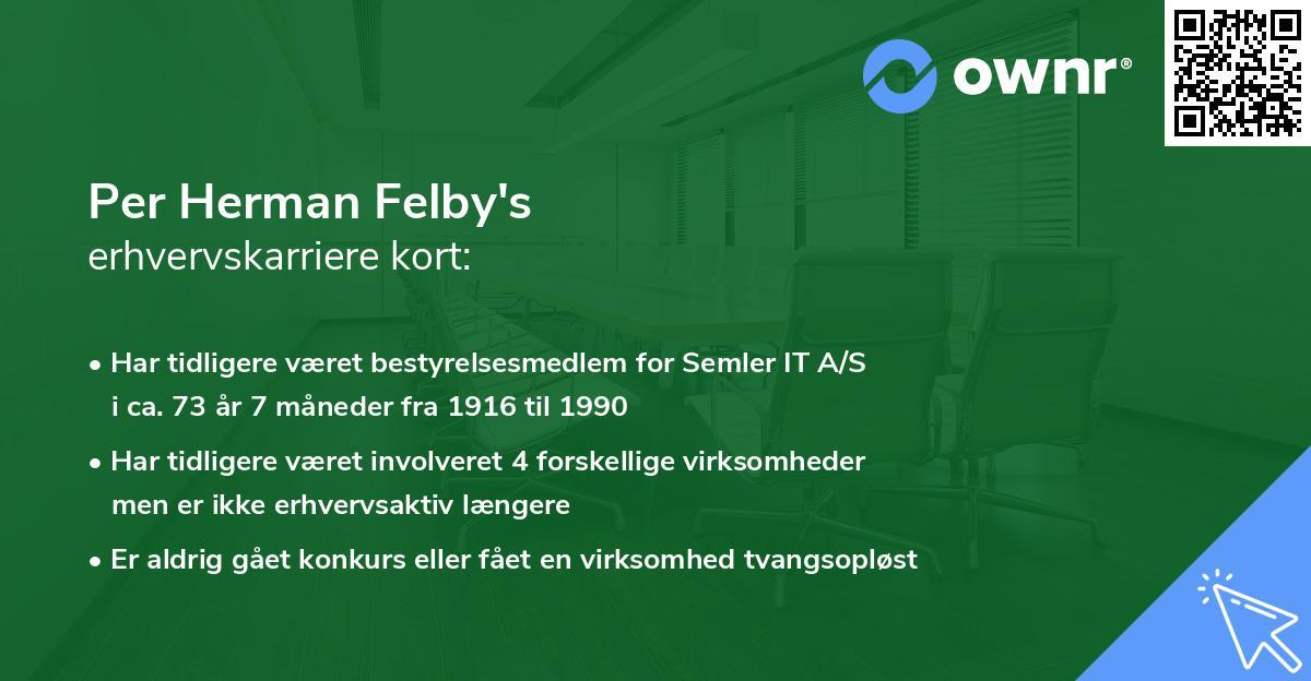 Per Herman Felby's erhvervskarriere kort