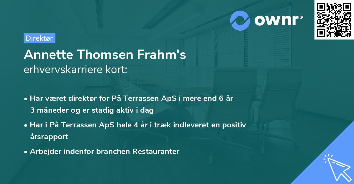 Annette Thomsen Frahm's erhvervskarriere kort