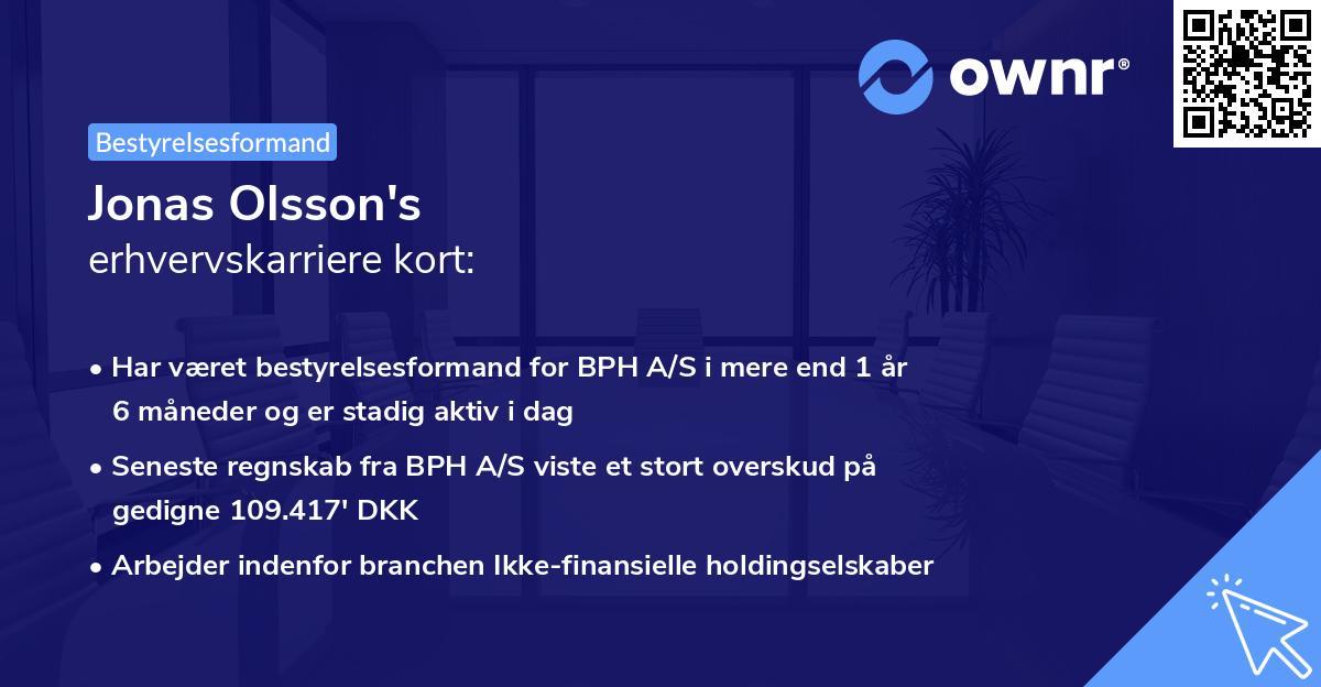 Jonas Mats Olsson's erhvervskarriere kort