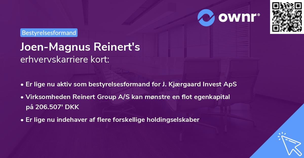Joen-Magnus Reinert's erhvervskarriere kort