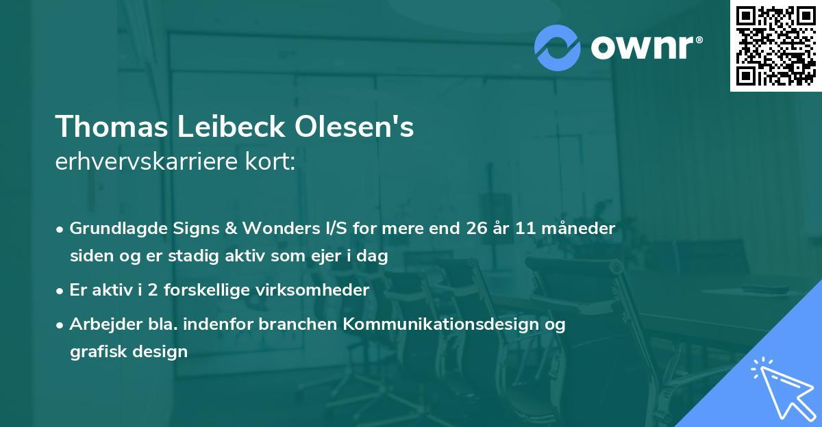 Thomas Leibeck Olesen's erhvervskarriere kort