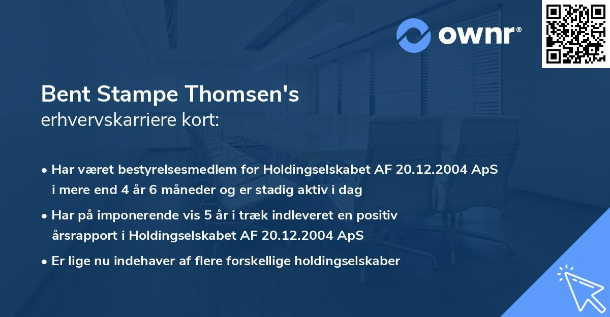 Bent Stampe Thomsen's erhvervskarriere kort