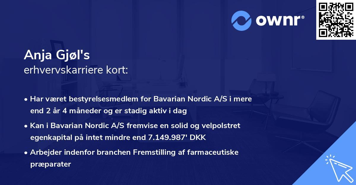 Anja Gjøl's erhvervskarriere kort