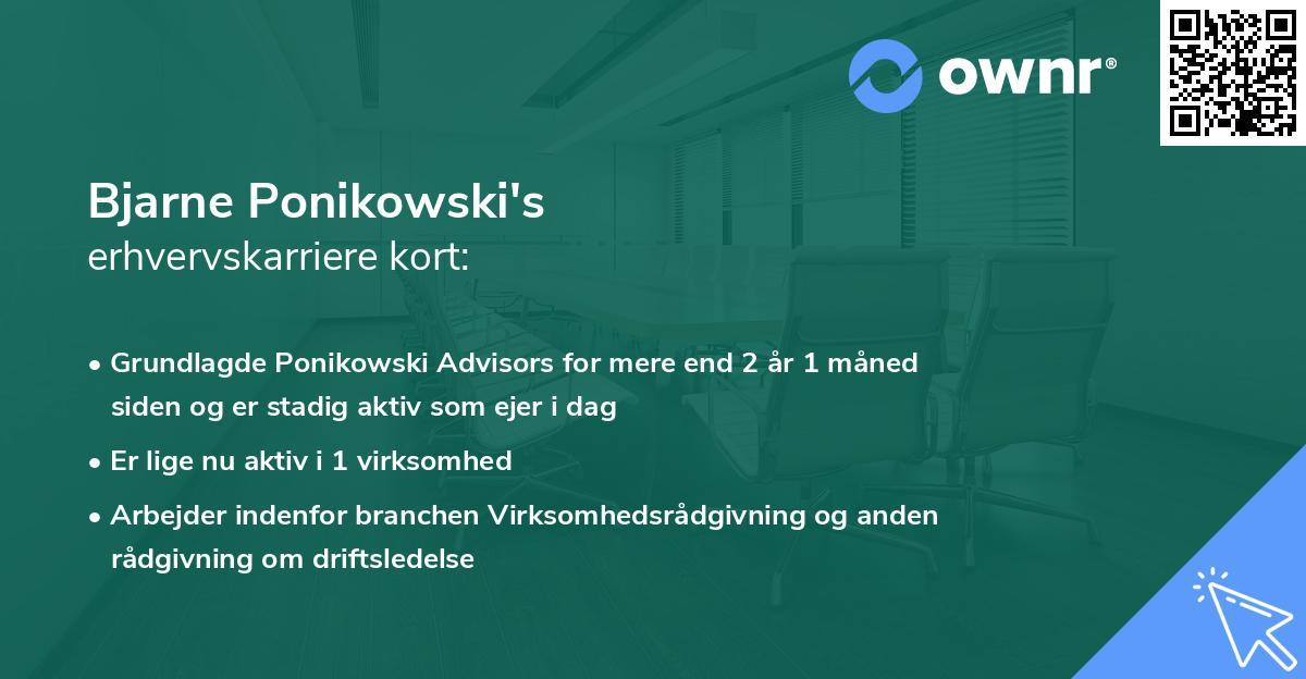 Bjarne Ponikowski's erhvervskarriere kort