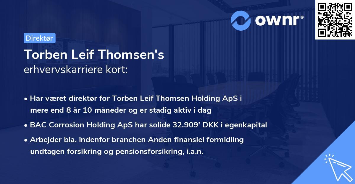 Torben Leif Thomsen's erhvervskarriere kort