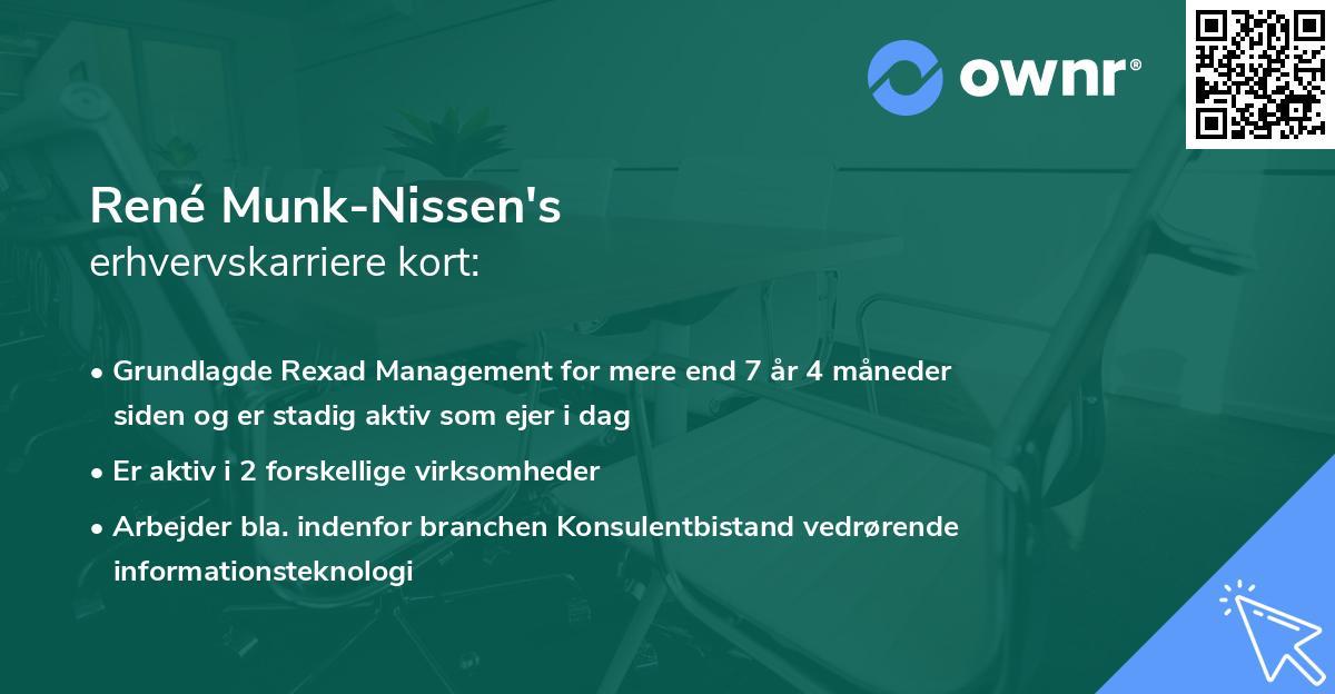 René Munk-Nissen's erhvervskarriere kort
