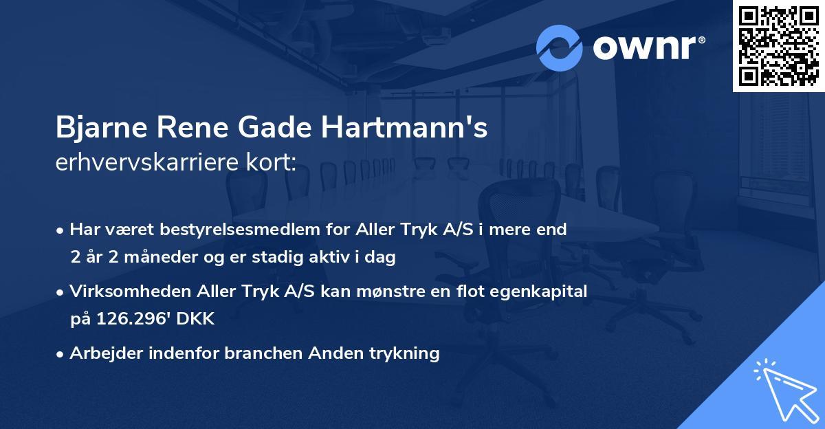 Bjarne Rene Gade Hartmann's erhvervskarriere kort