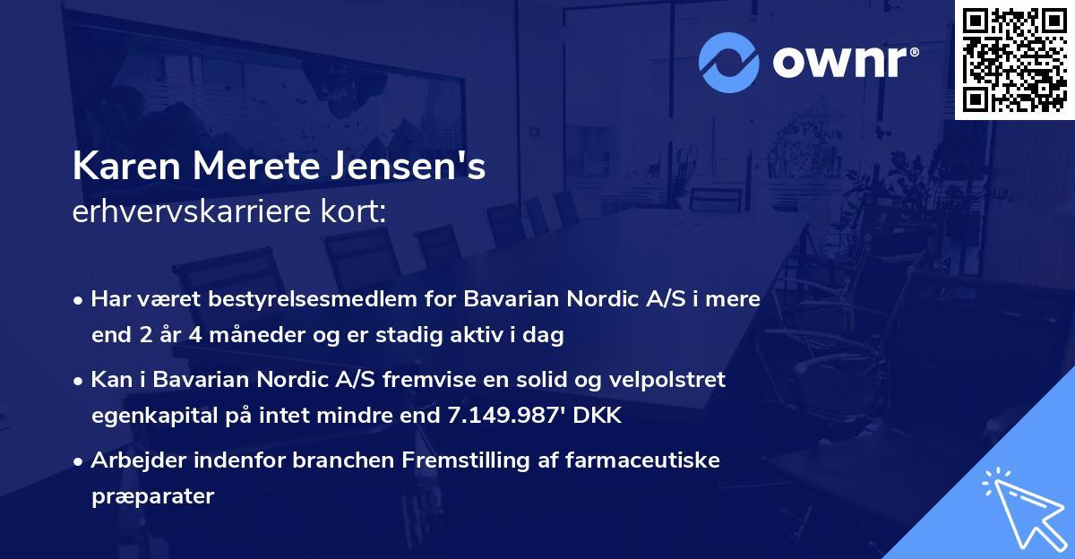 Karen Merete Jensen's erhvervskarriere kort