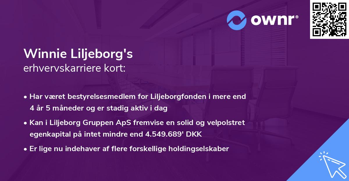 Winnie Liljeborg's erhvervskarriere kort