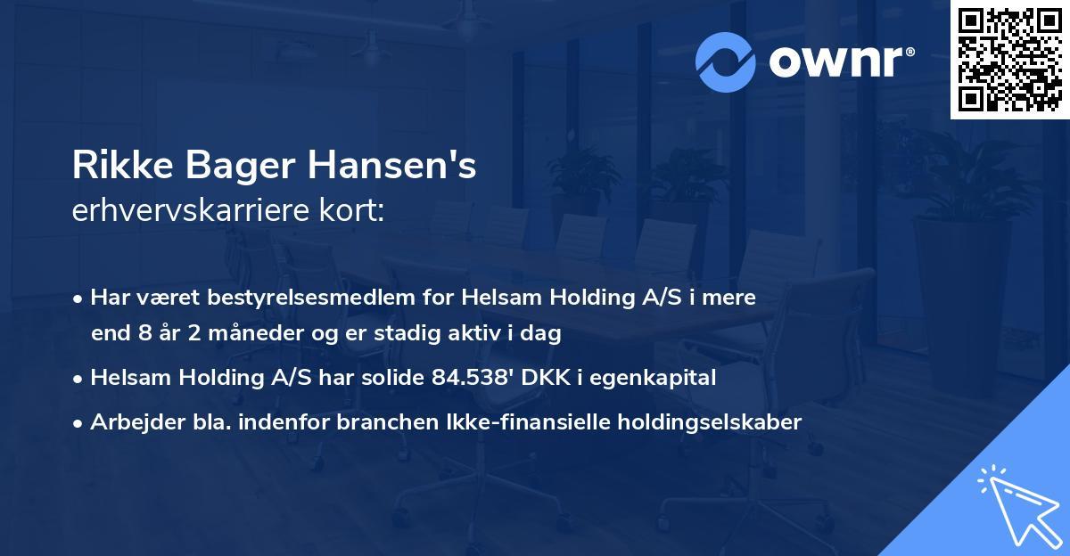 Rikke Bager Hansen's erhvervskarriere kort