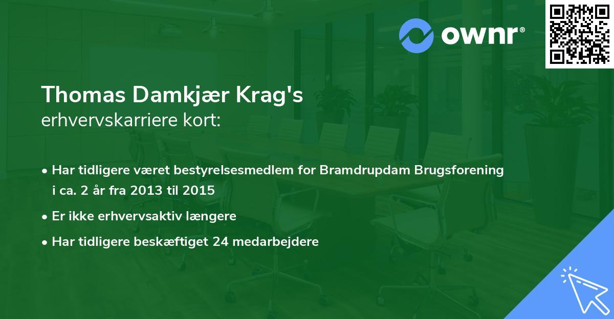 Thomas Damkjær Krag's erhvervskarriere kort