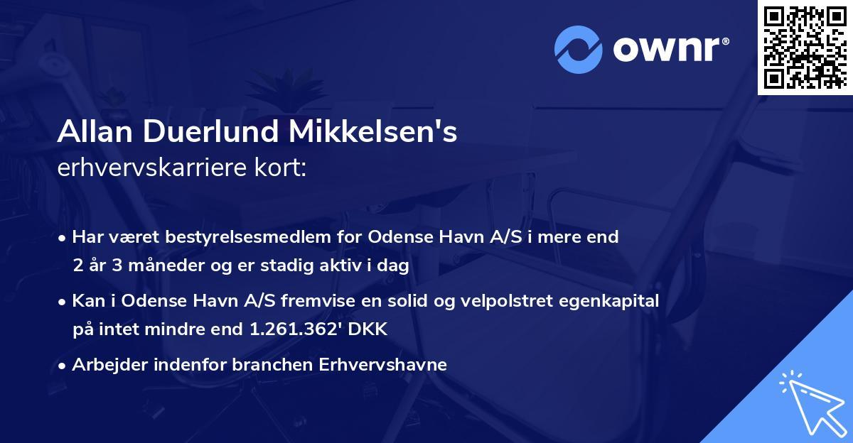 Allan Duerlund Mikkelsen's erhvervskarriere kort