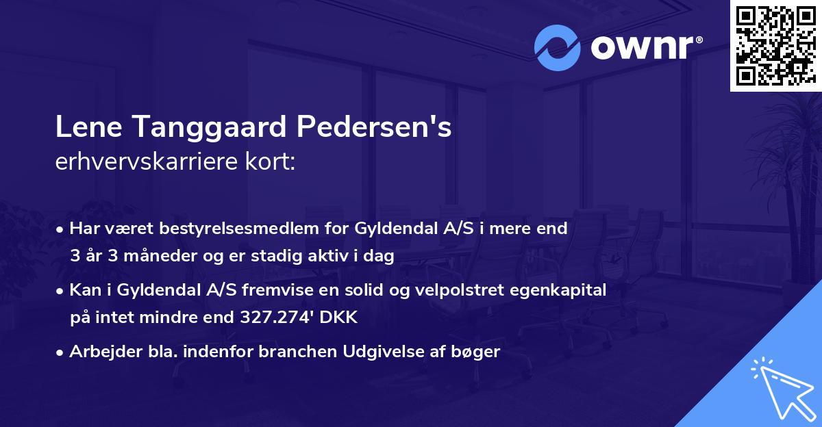 Lene Tanggaard Pedersen's erhvervskarriere kort