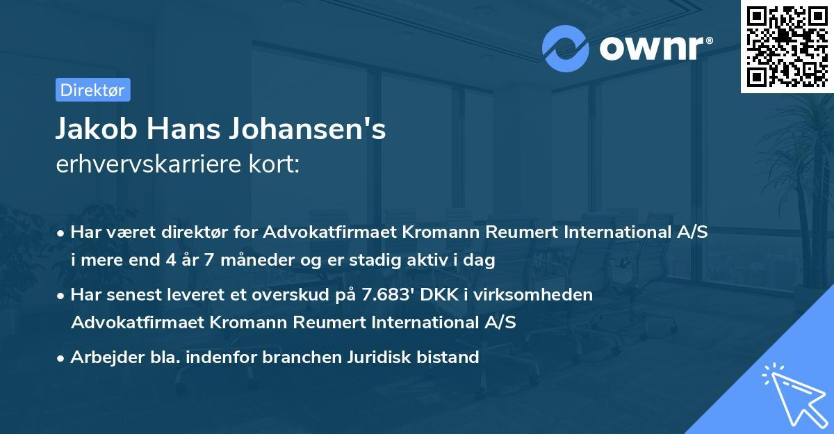 Jakob Hans Johansen's erhvervskarriere kort
