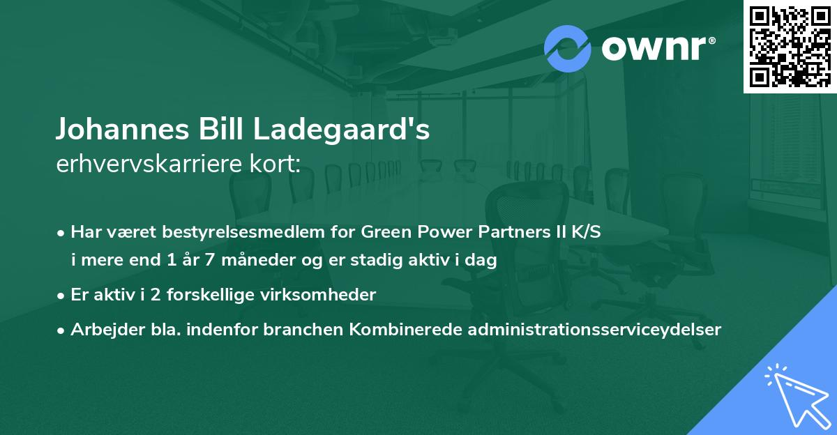 Johannes Bill Ladegaard's erhvervskarriere kort