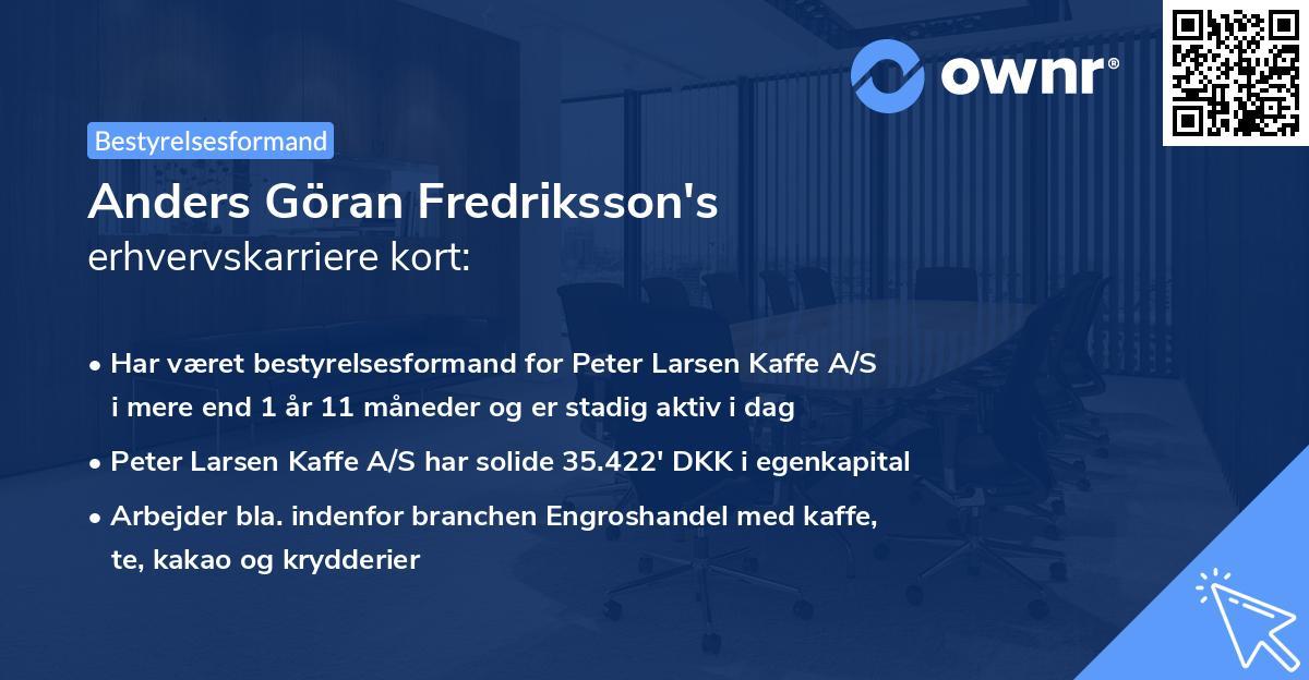 Anders Göran Fredriksson's erhvervskarriere kort