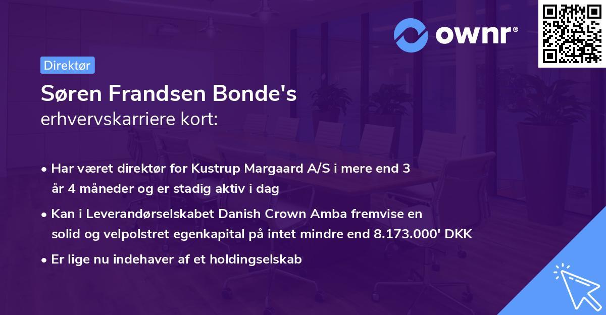 Søren Frandsen Bonde's erhvervskarriere kort