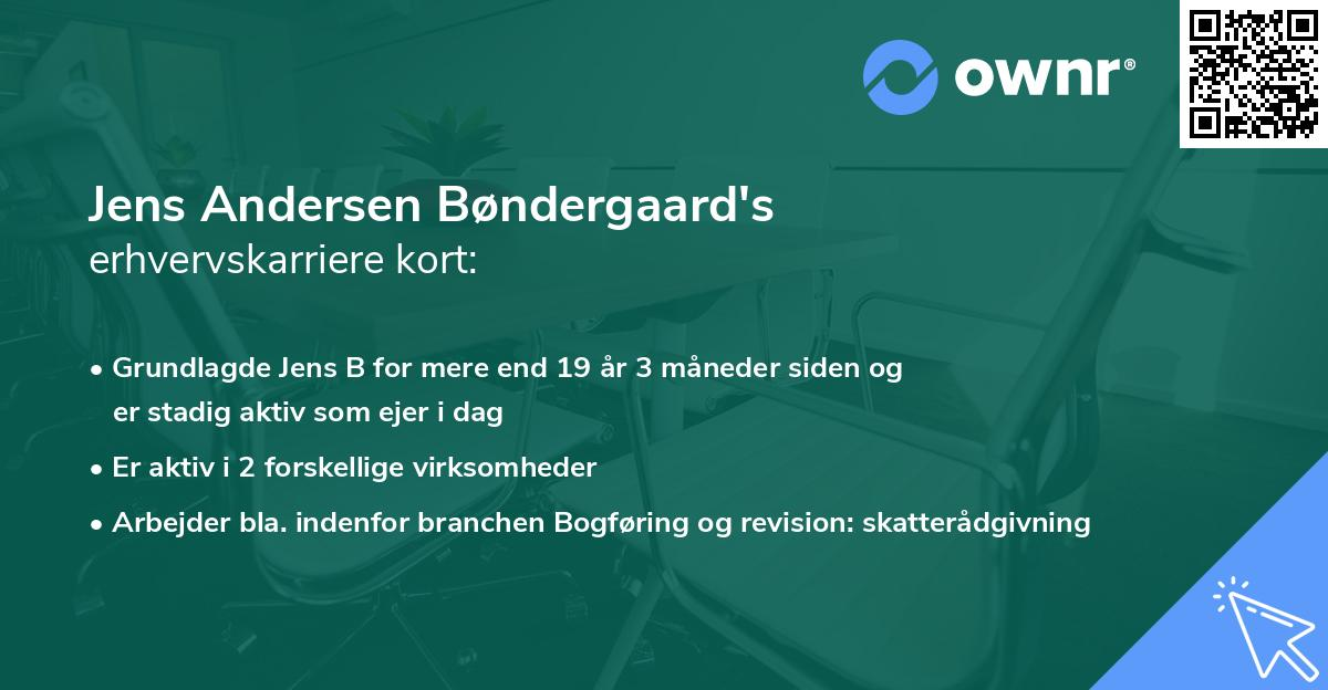 Jens Andersen Bøndergaard's erhvervskarriere kort
