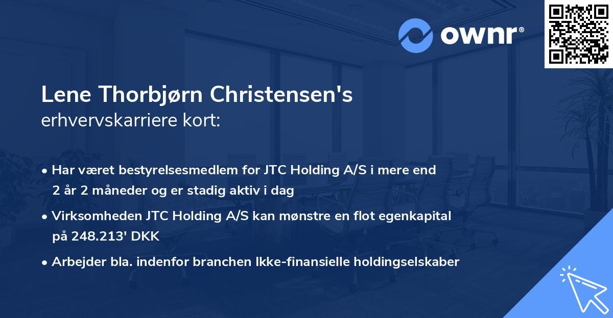 Lene Thorbjørn Christensen's erhvervskarriere kort