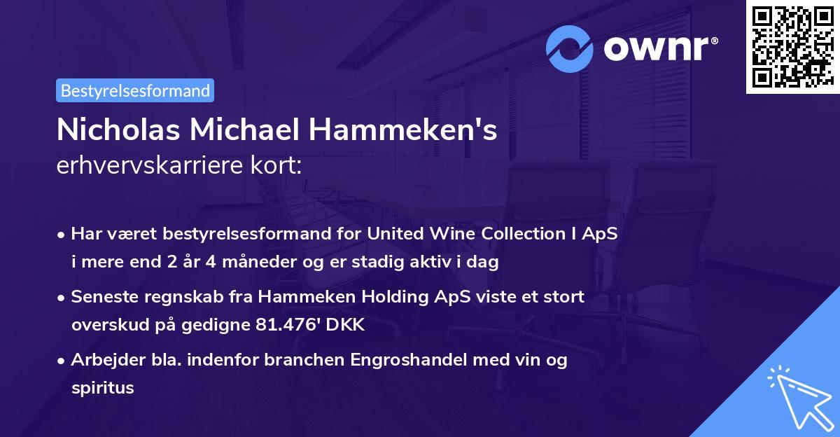 Nicholas Michael Hammeken's erhvervskarriere kort