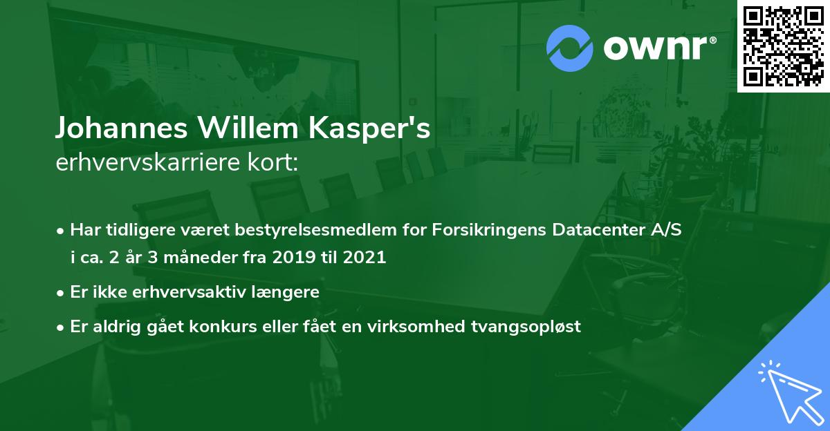 Johannes Willem Kasper's erhvervskarriere kort