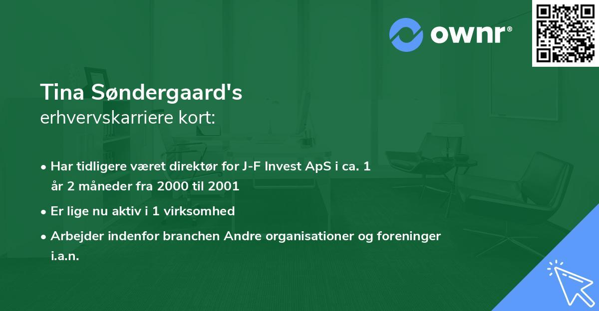 Tina Søndergaard's erhvervskarriere kort