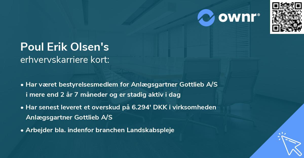 Poul Erik Olsen's erhvervskarriere kort