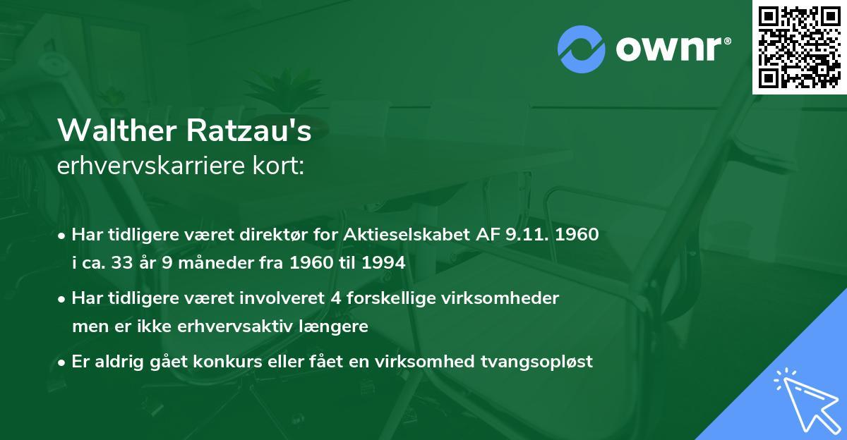 Walther Ratzau's erhvervskarriere kort
