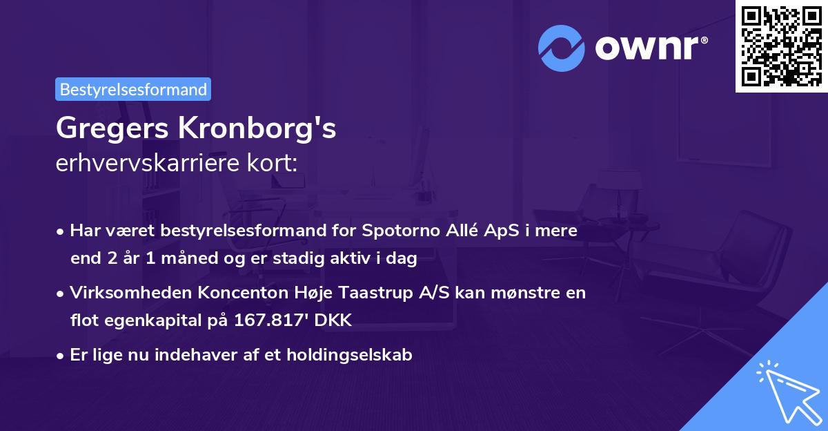 Gregers Kronborg's erhvervskarriere kort