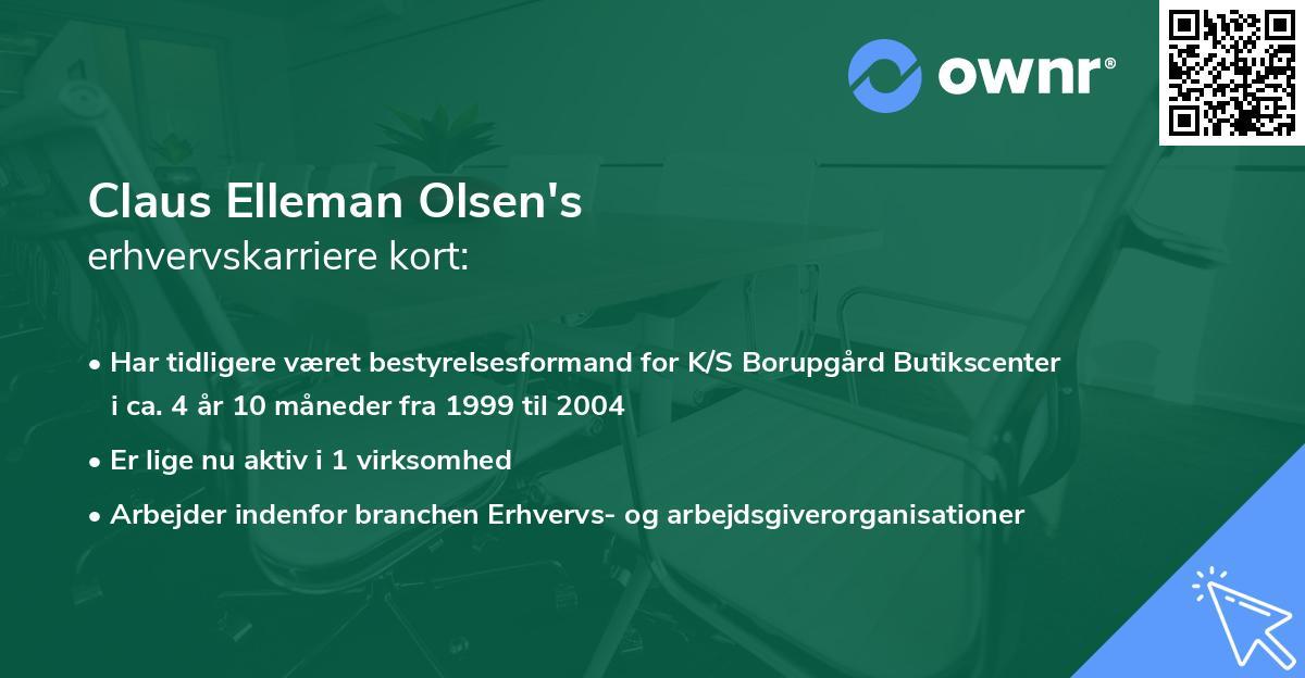 Claus Elleman Olsen's erhvervskarriere kort