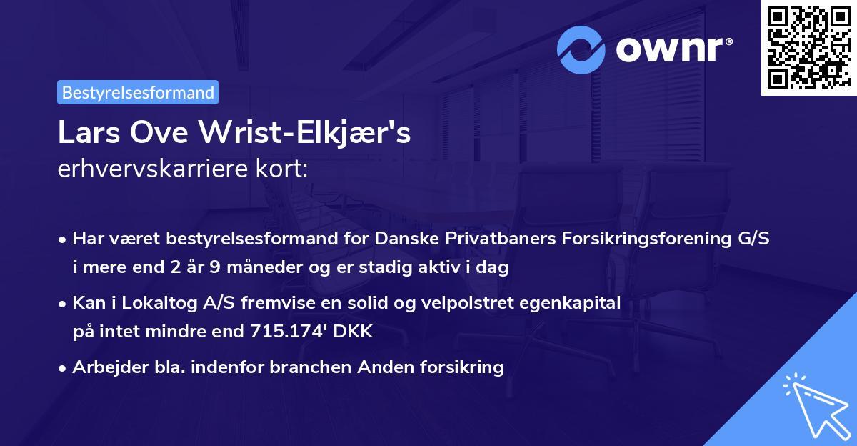 Lars Ove Wrist-Elkjær's erhvervskarriere kort