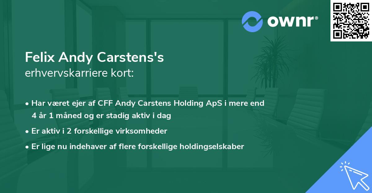Felix Andy Carstens's erhvervskarriere kort